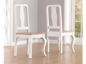 Sienna Acacia Painted Ivory Dining Chair X 2