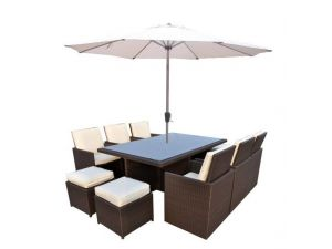 Cannes Brown 6/10 Seater Rattan Cube Set With 4 Footstools and Free Parasol