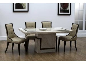 Filippo 160cm Marble Dining Table With 6 Marcello Chairs