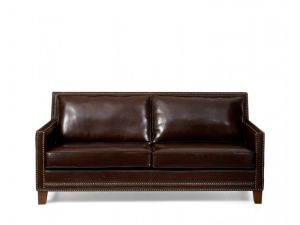 Arundel 3 Seater Brown Leather Sofa with Cushions