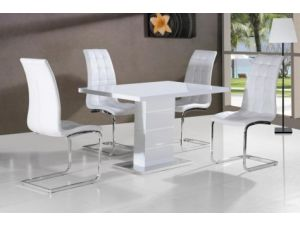 Ice White Gloss Dining Table With 4 Enzo White Faux Leather Dining Chairs