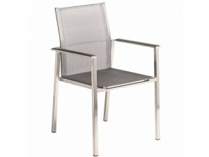 Alexander Rose Cologne Stacking Straight Armchair Graphite Sling