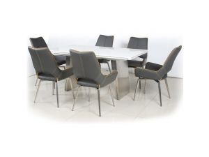 Shankar White High Gloss 160-200cm Table with Leather Match Swivel Chairs