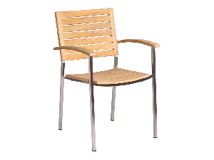 Alexander Rose Cologne Roble Natural Stainles Steel Sq Legs Stacking Armchair