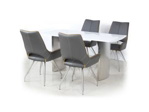 Shankar White High Gloss 150cm Table with Leather Match Chair