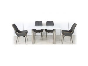 Shankar White High Gloss 150cm Table with Leather Match Swivel Chairs