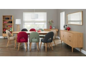 Bentley Designs Oslo Oak 6-8 Ext. Table And 6 Uph. Plum Fabric Chairs