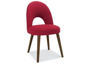 Bentley Designs Oslo Walnut Red Fabric Upholstered Chairs Pair