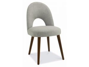 Bentley Designs Oslo Walnut Linen Fabric Upholstered Chairs Pair