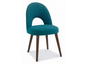 Bentley Designs Oslo Walnut Teal Fabric Upholstered Chairs Pair