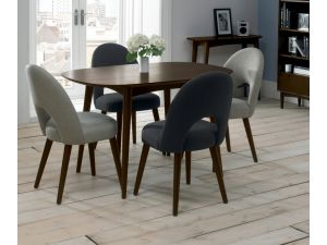 Bentley Designs Oslo Walnut 6 Seat Dining Table And 6 Plum Fabric Chairs