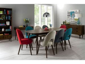 Bentley Designs Oslo Walnut 6-8 Extension Table & 8 Teal Fabric Chairs
