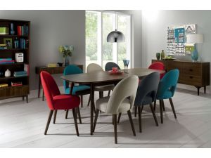 Bentley Designs Oslo Walnut 6-8 Ext. Table And 8 Uph. Plum Fabric Chairs