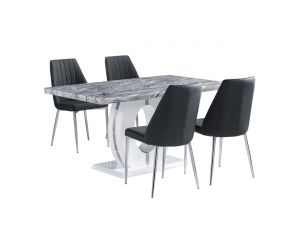 Shankar Marble Top Effect 150cm Table with 6 Dark Grey Textured Leather Match Chairs
