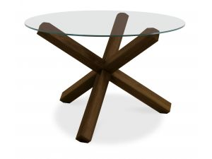 Bentley Designs Lyon Walnut Glass Top Round Dining Table