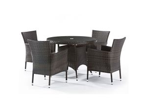 LB Outdoor Leisure Leonardo 4 Seater Rattan Dining Set With Inlaid Glass