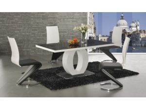 Halo Black and White Dining Table With 6 Leona Z Leather Chairs