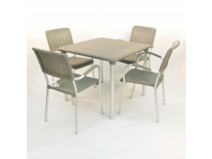Europa Turtle Dove Maestrale 90 Standard Table With 4 Musa Chairs