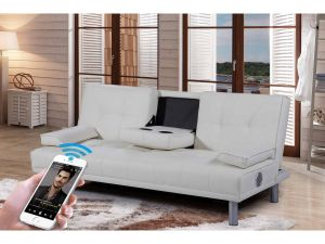 Miami Red Leather Bluetooth Sofa Bed