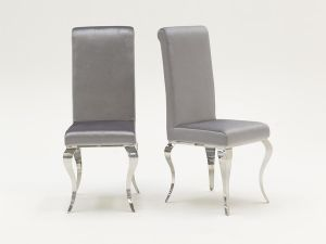 Louis Silver Velvet Dining Chair
