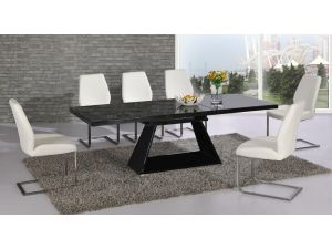 Italia Black High Gloss Extending Dining Table With 6 Mariya White Chairs