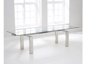 Lunetto 200 cm Glass Extending Dining Table