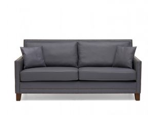 Arundel 3 Seater Grey Leather Sofa with Cushions