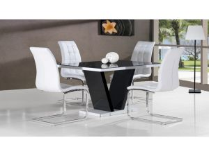 Zara Black High Gloss Top Small Dining Table