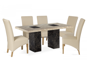 Bilbao 180cm Black and Cream Marble Effect Dining Table with Roma Chairs