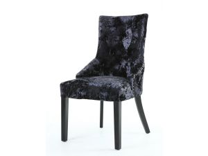 Shankar Chester Premium Crushed Black Velvet Dining Chair