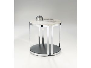 Chelsom Riva Round Carrara Marble Stainless Steel Lamp Table