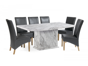 Caceres 180cm Grey Marble Effect Dining Table with Roma Chairs