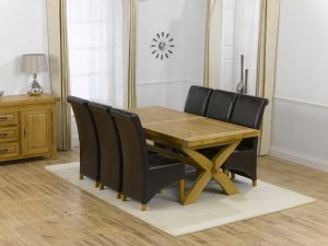 Canterbury Solid Oak Dining Table + 8 Rustique Dining Chair Dining Set