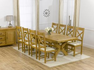 Canterbury Solid Oak Dining Table + 8 Canterbury Dining Chair Dining Set