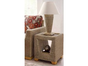Cane Woven Floor Table Lamp