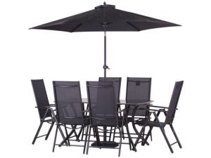 Royalcraft Cayman 6 Seater Black Rectangle Recliner Set With Parasol