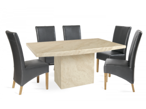 Coruna 180cm Cream Marble Effect Dining Table with Roma Chairs