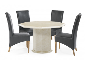 Coruna 120cm Cream Octagonal  Marble Effect Dining Table with 4 Roma Chairs