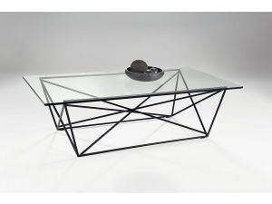 Chelsom Parker Rectangular Black Metal Clear Glass Coffee Table