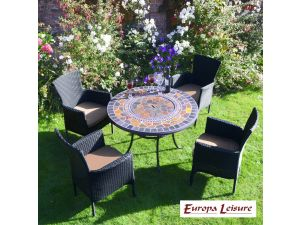 Europa Durango Patio Set Table With 4 Stockholm Black Chairs