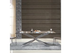 Fairmont Gabriella Glass and Stainless Steel Dining Table
