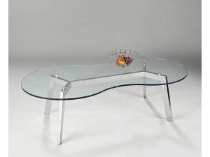 Chelsom Otto Chrome Clear Glass Coffee Table