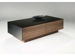 Chelsom Osaka Rectangular Walnut Black Glass Coffee Table