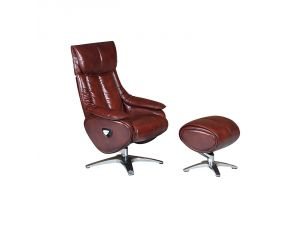 Alpha Conker Brown Leather Swivel Recliner Chair and Footstool