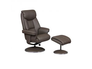 Biarritz Charcoal Trim Leather Swivel Recliner Chair and Footstool