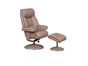Biarritz Earth Trim Leather Swivel Recliner Chair and Footstool