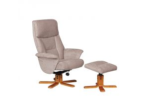 Marseille Mist Fabric Swivel Recliner Chair and Footstool