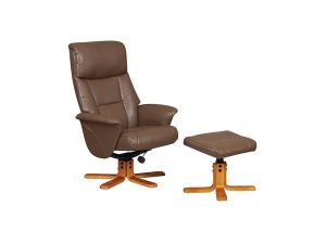 Marseille Truffle Leather Swivel Recliner Chair and Footstool