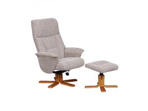 Marseille Wheat Fabric Swivel Recliner Chair and Footstool