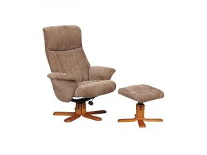 Marseille Mink Fabric Swivel Recliner Chair and Footstool